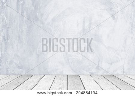 Empty gray cement wall and wooden floor room in perspective view grunge background interior design product display montage vintage style