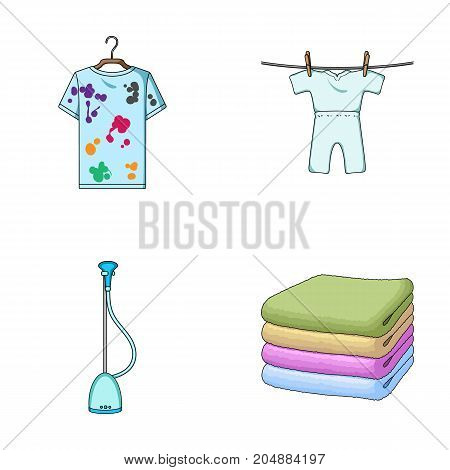 Vacuum cleaner, a stack of cloth, dirty and clean things. Dry cleaning set collection icons in cartoon style vector symbol stock illustration .