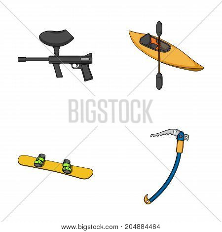 Paintball marker, kayak with a paddle, snowboard and climbing ice ax.Extreme sport set collection icons in cartoon style vector symbol stock illustration .