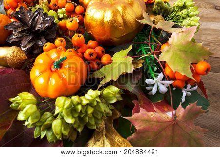 Fall Symbols Pumpkins, Autumn Leaves, Berries And Cones