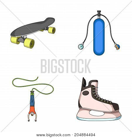 Skateboard, oxygen tank for diving, jumping, hockey skate.Extreme sport set collection icons in cartoon style vector symbol stock illustration .