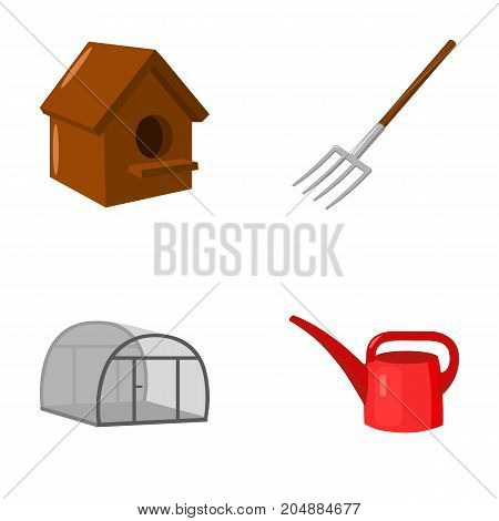 Poultry house, pitchfork, greenhouse, watering can.Farm set collection icons in cartoon style vector symbol stock illustration .