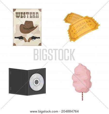 Western cinema, tickets, sweet cotton wool, film on DVD.Filmy and cinema set collection icons in cartoon style vector symbol stock illustration .