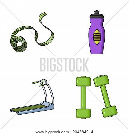 Measuring tape, water bottle, treadmill, dumbbells. Fitnes set collection icons in cartoon style vector symbol stock illustration .
