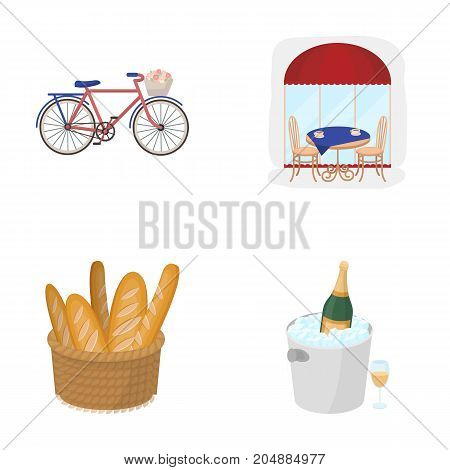 Bicycle, transport, vehicle, cafe .France country set collection icons in cartoon style vector symbol stock illustration .