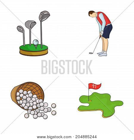 Stand for a golf club, muzhchin playing with a club, basket with balls, label with a flag on the golf course. Golf Club set collection icons in cartoon style vector symbol stock illustration .