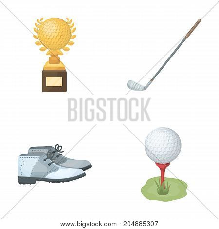 Cup, golf club, ball on the stand, golfer shoes.Golf club set collection icons in cartoon style vector symbol stock illustration .