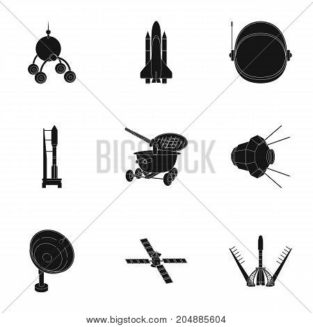 Space ship, Lunokhod, spacesuit and other equipment. Space technology set collection icons in black style vector symbol stock illustration .