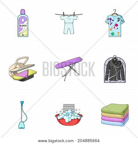 Washing machine, powder, iron and other equipment. Dry cleaning set collection icons in cartoon style vector symbol stock illustration .