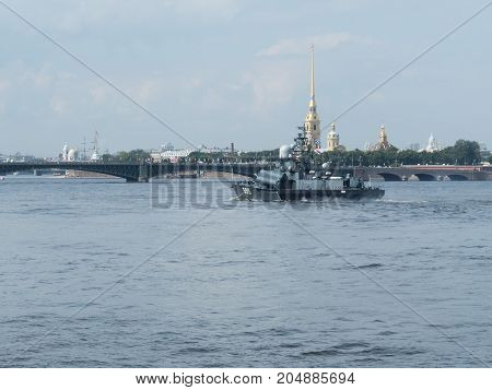 SAINT-PETERSBURG RUSSIA - JULY 23 2017: A missile boat at the rehearsal of the naval parade in St. Petersburg