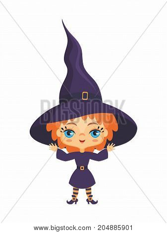 Little cute witch in a cartoon style. Children's illustration on white background.