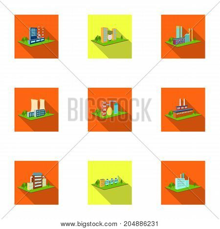 Processing factory, metallurgical plant and other production. Factory and industry set collection icons in flat style isometric vector symbol stock illustration