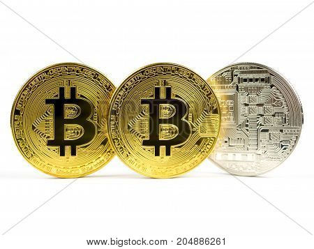 Golden and silver bitcoin coins isolated on a white background