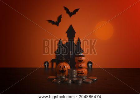 Halloween pumpkins jack-o-lantern on orange background. Halloween pumpkin background.