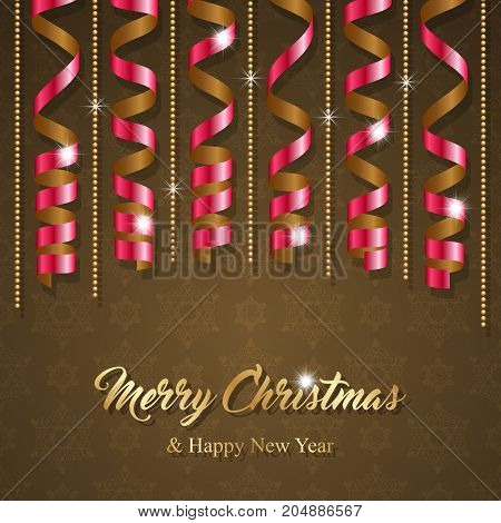 Christmas greeting card with colorful serpentine ribbons. Vector Illustration