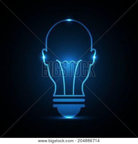 Technology Future Head Front Light Bulb