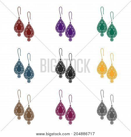 Earrings with gems icon in black style isolated on white background. Jewelry and accessories symbol vector illustration.