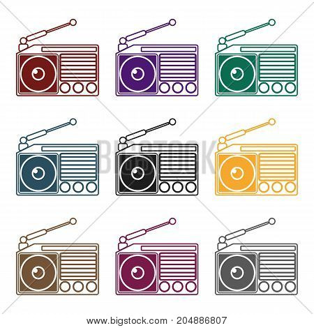Radio icon in black design isolated on white background. Picnic symbol stock vector illustration.