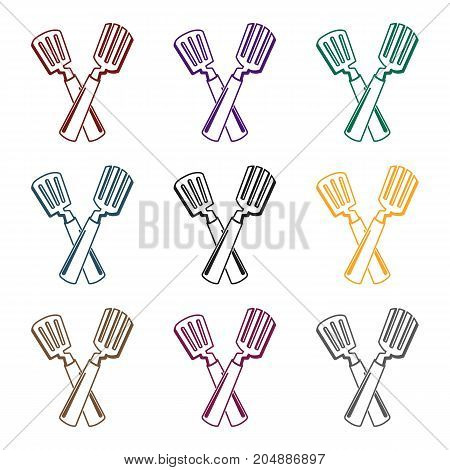 Crossed spatula icon in black design isolated on white background. Picnic symbol stock vector illustration.