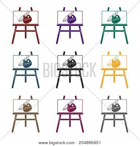 Easel with picture icon in black design isolated on white background. Picnic symbol stock vector illustration.