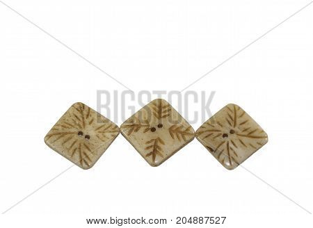 buttons sewing industry textile brown and white colors on white background
