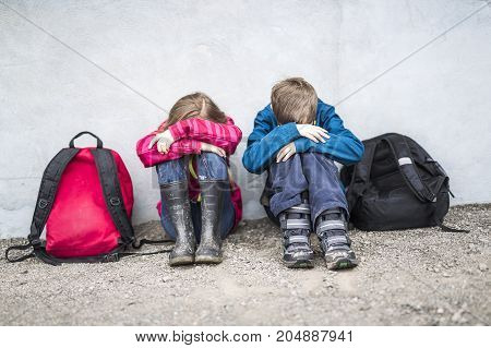 Two nice Pre teen child at school outside