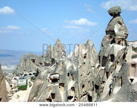 Houses dug into the rock