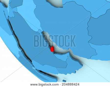 Qatar On Blue Political Globe