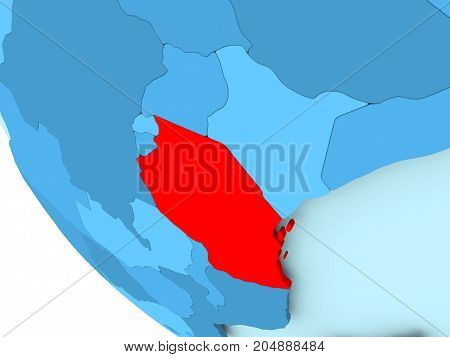 Tanzania On Blue Political Globe