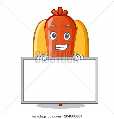 Grinning with board Hot Dog Cartoon Character Vector Illustration