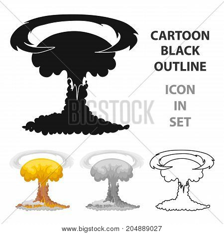 Nuclear explosion icon in cartoon design isolated on white background. Explosions symbol stock vector illustration.