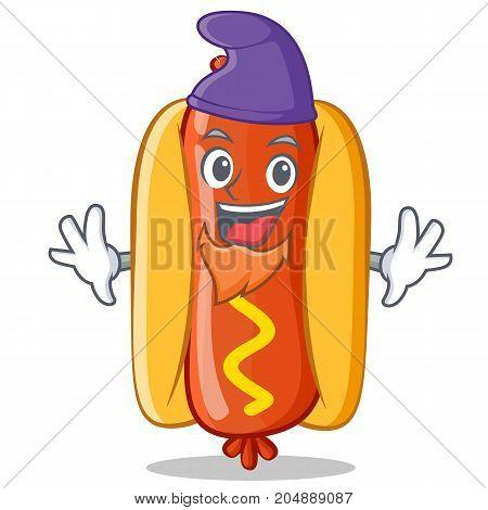 Elf Hot Dog Cartoon Character Vector Illustration