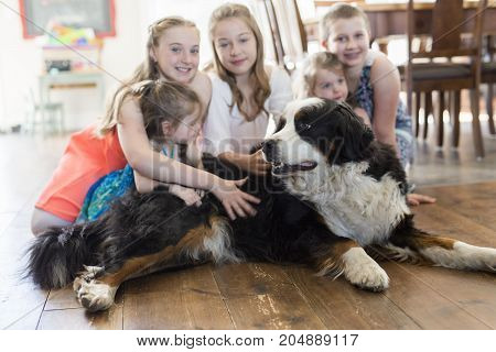 the girls on the floor with the Bernese Mountain Dog