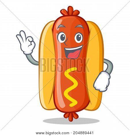 Okay Hot Dog Cartoon Character Vector Illustration
