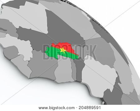 Map Of Burkina Faso With Flag On Globe