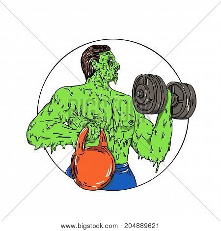 Grime art style illustration of an athlete physical fitness buff lifting dumbbell and kettlebell set inside circle.