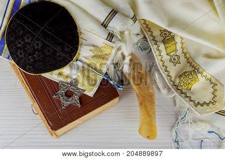 Prayer Shawl - Tallit jewish religious symbol. Selective focus Jewish holiday