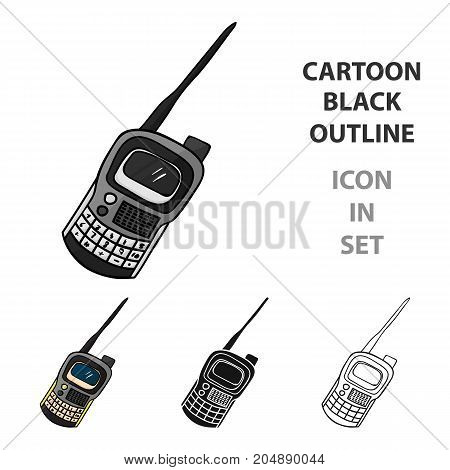 Handheld transceiver icon in cartoon design isolated on white background. Paintball symbol stock vector illustration.
