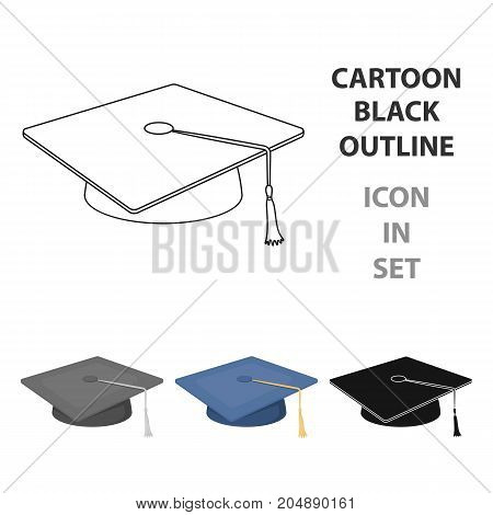 Blue beret with a rope in the center. Cap student . School uniform .School And Education single icon in cartoon style vector symbol stock web illustration.
