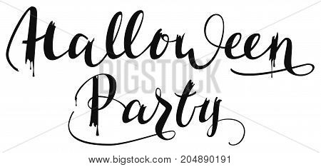Halloween party. Handwritten text for greeting invitation card. Isolated on white vector lettering illustration