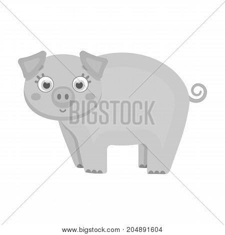 Piglet, single icon in monochrome style.Piglet vector symbol stock illustration .