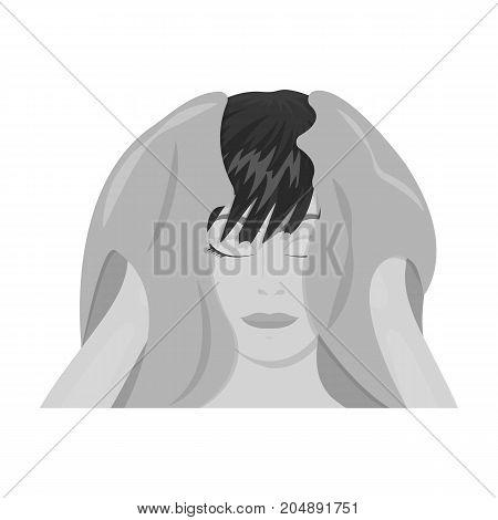 Girl, single icon in monochrome style.Girl vector symbol stock illustration .