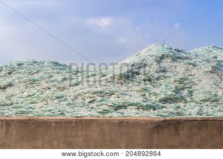 Image of waste glass for recycling in industrybroken glass recycled