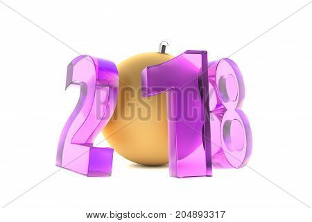 New 2018 Year Violet Glass Figures With Golden Decoration Ball