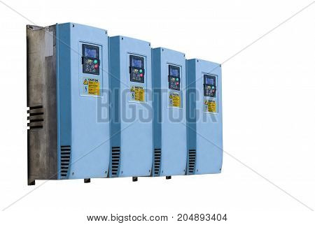 Industrial electricity inverters used in a factory on white backgroundcontroler