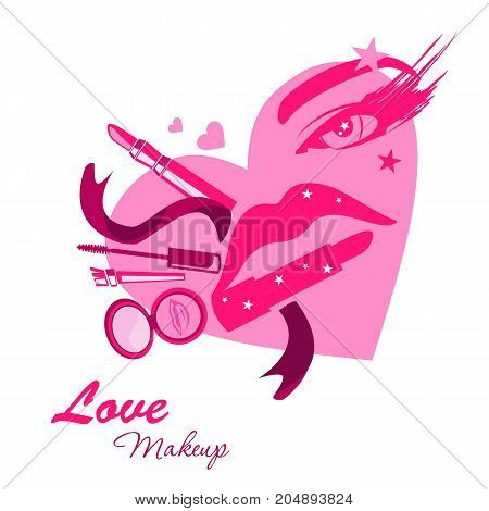 Love make up beauty logo emblem with lipstick cream brush eyeshadow in form of girl face heart with eye and lips. Vector template illustration Cosmetics and fashion background for business card