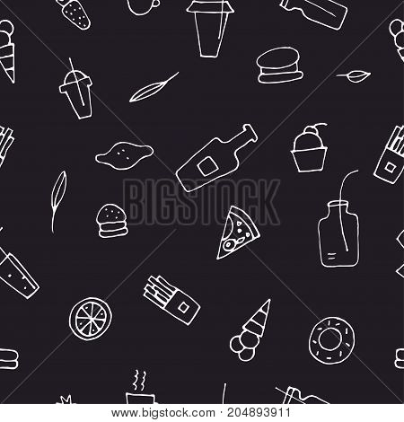Hipster background with food. Vector doodle seamless black and white pattern