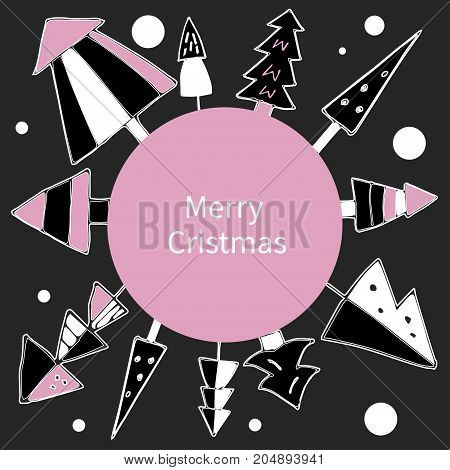 Card with snowy winter forest. Set decorative christmas doodle christmas trees and snow.Greeting card, banner, template, flyer. Vector illustration