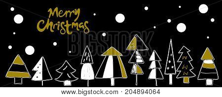 Card with snowy winter forest. Set decorative christmas doodle christmas trees and snow. Golden greeting card, template, flyer. Vector illustration