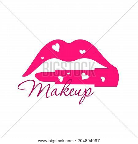 Make up beauty logo emblem with lips and lipstick instead of the lower lip with hearts. Vector template illustration Cosmetics and fashion background for business card book cover beauty salon